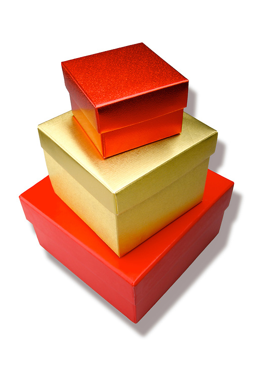 A stack of red and gold gift boxes.