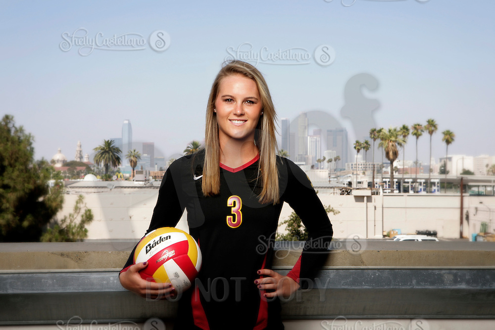 10 August 2010:  #3 Natalie Hagglund  on the Pac-10 NCAA College Women's Volleyball team for the USC Trojans Women of Troy photographed at the Galen Center on Campus in Southern California. .Images are for Personal use only.  No Model Release, No Property Release, No Commercial 3rd Party use. .Photo Credit should read: ©2010ShellyCastellano.com