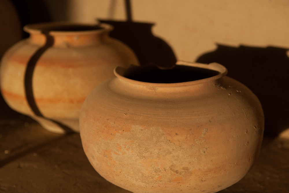 Pottery preserved in a storage room at the archaeological site of Gonur Depe in Turkmenistan