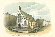 Rochdale, Lancashire, England. Unitarian Chapel and School, Blackwater Street. From William Robertson 'Rochdale Past and Present', Rochdale, 1876. Colour-printed engraving.