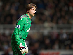 NEWCASTLE, ENGLAND - Saturday, December 11, 2010: Newcastle United's goalkeeper Tim Krul in action against Liverpool during the Premiership match at St James' Park. (Photo by: David Rawcliffe/Propaganda)