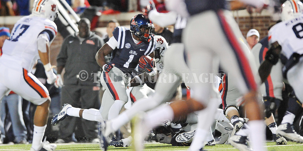 Ole Miss' wide receiver Laquon Treadwell (1) scores a touchdown vs. Auburn at Vaught-Hemingway Stadium in Oxford, Miss. on Saturday, November 1, 2014. (AP Photo/Oxford Eagle, Bruce Newman)