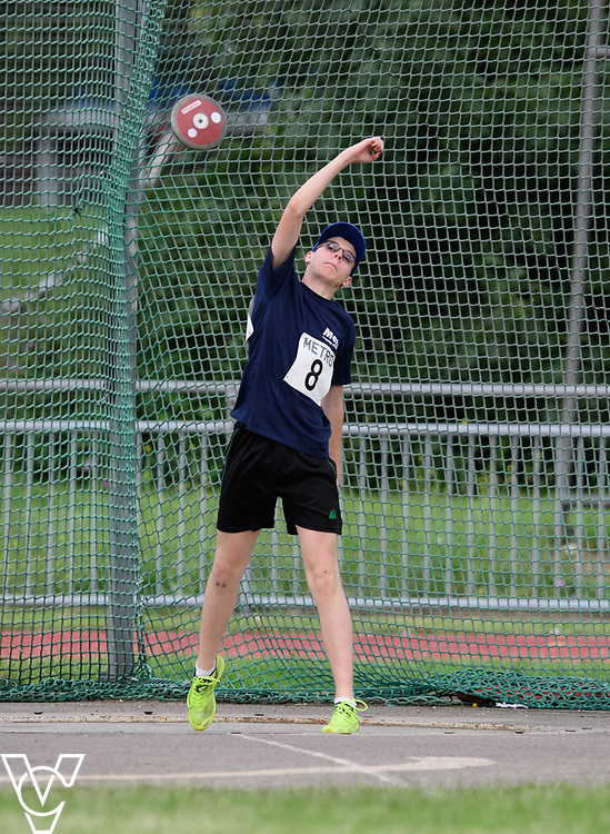 Metro Blind Sport's 2017 Athletics Open held at Mile End Stadium.  Discus.  Luke Boulding<br /> <br /> Picture: Chris Vaughan Photography for Metro Blind Sport<br /> Date: June 17, 2017