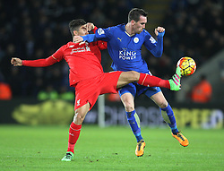 Roberto Firmino of Liverpool (L) and Christian Fuchs of Leicester City in action - Mandatory byline: Jack Phillips/JMP - 02/02/2016 - FOOTBALL - King Power Stadium - Leicester, England - Leicester City v Liverpool - Barclays Premier League