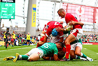 Rugby Union - 2019 pre-Rugby World Cup warm-up (Guinness Summer Series) - Ireland vs. Wales<br /> <br /> Rob Kearney (Ireland) prevents the try being scored by Dan Biggar (Wales) at The Aviva Stadium.<br /> <br /> COLORSPORT/KEN SUTTON