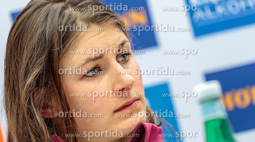 07.02.2017, Biathlonarena, Hochfilzen, AUT, IBU Weltmeisterschaften Biathlon, Hochfilzen 2017, Pressekonferenz Frankreich, im Bild Justine Braisaz (FRA) // Justine Braisaz (FRA) during Pressconference of French Mens before the IBU Biathlon World Championships at the Biathlonarena in Hochfilzen, Austria on 2017/02/07. EXPA Pictures © 2017, PhotoCredit: EXPA/ JFK