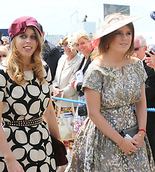 Princess's Beatrice and Eugenie arriving at the Epsom Derby in Epsom, England, Saturday 1st June 2013 Picture by Stephen Lock / i-Images