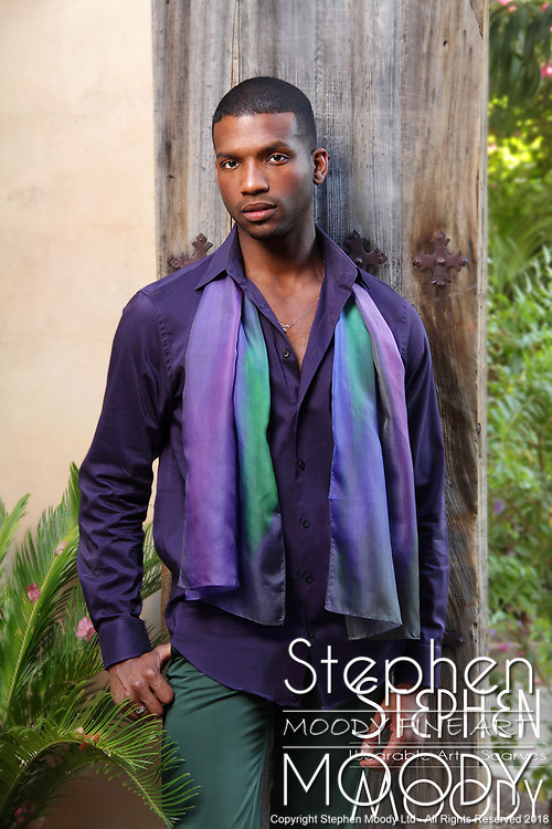 "Coming Out Purple Silk Scarf - Wearable Art Catalog, designed by artist Stephen Moody in Scottsdale, AZ from the artwork ""Art In Its Most Human Form""TM.  Moody's art is available for purchase on Canvas, watercolor paper and silk wearable art."