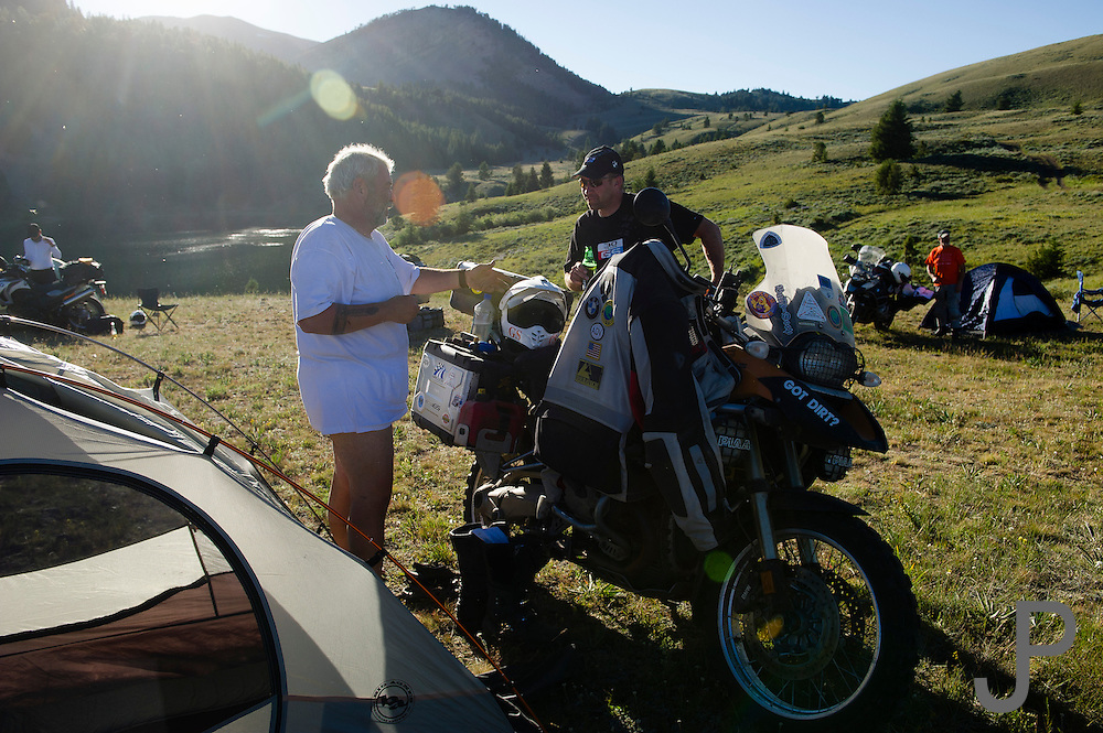 Pete Springer (left) and Shannon Markle (right) discuss setting up camp for the night at Morrison Lake.