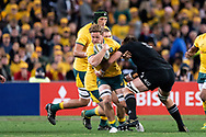 SYDNEY, NSW - AUGUST 18: Australian player Michael Hooper (c) (7) breaks the tackle of New Zealand player Samuel Whitelock (5) at the Bledisloe Cup rugby test match between Australia and New Zealand at ANZ Stadium in Sydney on August 18, 2018. (Photo by Speed Media/Icon Sportswire)