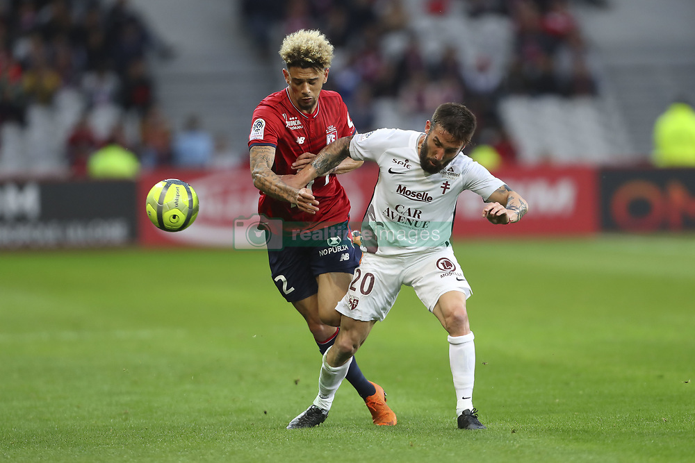 April 28, 2018 - Villeneuve D Ascq, France - Kevin Malcuit ( Lille )  vs Julian Palmieri  (Credit Image: © Panoramic via ZUMA Press)