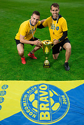 Milan Dzajic and Mustafa Nukic during celebration of NK Bravo, winning team in 2nd Slovenian Football League in season 2018/19 after they qualified to Prva Liga, on May 26th, 2019, in Stadium ZAK, Ljubljana, Slovenia. Photo by Vid Ponikvar / Sportida