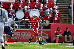 27 October 2007:  Luke Drone moves to his left and out of the pocket to make a pass. The Western Illinois Leathernecks beat up on the Illinois State Redbirds  27-14 at Hancock Stadium on the campus of Illinois State University in Normal Illinois.