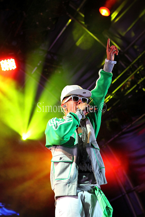 Dino 'Dappy' Contostavlos of N-Dubz performs live on stage during the fourth night of the Summer Series at Somerset House on July 11, 2010 in London, England.  (Photo by Simone Joyner)