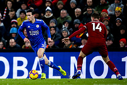 Ben Chilwell of Leicester City takes on Jordan Henderson of Liverpool - Mandatory by-line: Robbie Stephenson/JMP - 30/01/2019 - FOOTBALL - Anfield - Liverpool, England - Liverpool v Leicester City - Premier League