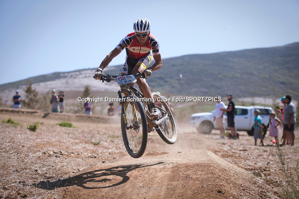Philip Buys during the final stage (stage 7) of the 2015 Absa Cape Epic Mountain Bike stage race from the Cape Peninsula University of Technology in Wellington to Meerendal Wine Estate in Durbanville, South Africa on the 22 March 2015<br /> <br /> Photo by Damien Schumann/Cape Epic/SPORTZPICS<br /> <br /> PLEASE ENSURE THE APPROPRIATE CREDIT IS GIVEN TO THE PHOTOGRAPHER AND SPORTZPICS ALONG WITH THE ABSA CAPE EPIC
