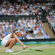LONDON, ENGLAND - JULY 11:  Jelena Ostapenko of Latvia in action against Venus Williams of the United States  in the Ladies' Singles Quarter Final match on Center Court during the Wimbledon Lawn Tennis Championships at the All England Lawn Tennis and Croquet Club at Wimbledon on July 11, 2017 in London, England. (Photo by Tim Clayton/Corbis via Getty Images)