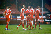 Crawley Town players celebrate a goal from Crawley Town forward Karlan Ahearne-Grant (score 2-0) during the EFL Sky Bet League 2 match between Crawley Town and Grimsby Town FC at the Checkatrade.com Stadium, Crawley, England on 10 February 2018. Picture by Andy Walter.