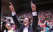 Indiana coach Tom Crean celebrates a big win over Ohio State in Bloomington Saturday night.Indiana and Ohio State faced off at Assembly Hall Saturday, December 31, 2011. (Mike Fender / The Star)