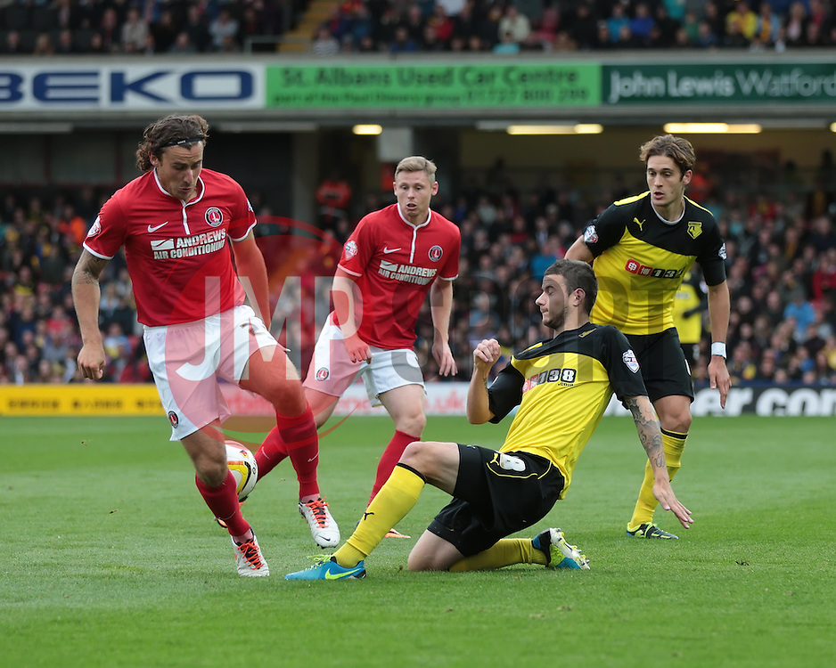 Watford's Daniel Pudil gets the ball from Charlton Athletic's Lawrie Wilson  - Photo mandatory by-line: Nigel Pitts-Drake/JMP - Tel: Mobile: 07966 386802 14/09/2013 - SPORT - FOOTBALL -  Vicarage Road - Hertfordshire - Watford V Charlton Athletic - Sky Bet Championship