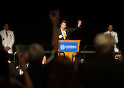 Thayne McCulloh toasts the crowd during Zagapalooza the event at the Spokane Convention Center.<br />