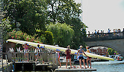 Henley, England.  GBR W8+, racing at Henley as Imperial London and Sport Imperial, carry their boat into Leander Club, after their Race. 2015 Henley Royal Regatta, Henley Reach, River Thames, 12:13:28  Friday  03/07/2015   [Mandatory Credit. Peter SPURRIER/Intersport Images. .   Empacher.