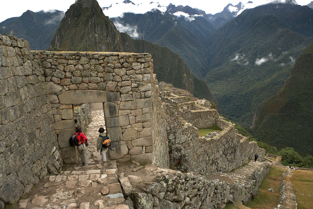 Couple overlooking Machu Picchu  Peru  Not Released
