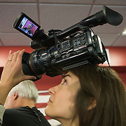 Covering a press conference of Republican Presidential candidate John Kasich after a rally in Burlington, Wisconsin Saturday April 2, 2016. <br /> Photography by Jose More