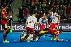 England's Nick Catlin and Dan Shingles celebrate after Chris Griffiths scores England's third goal. England v Spain - Unibet EuroHockey Championships, Lee Valley Hockey & Tennis Centre, London, UK on 25 August 2015. Photo: Simon Parker