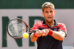 PARIS, June 2, 2017  Martin Klizan of Slovakia returns the ball to Andy Murray of Britain during the men's singles 2nd round match at the French Open Tennis Tournament 2017 in Paris, France on June 1, 2017. Andy Murray won 3-1. (Credit Image: © Chen Yichen/Xinhua via ZUMA Wire)