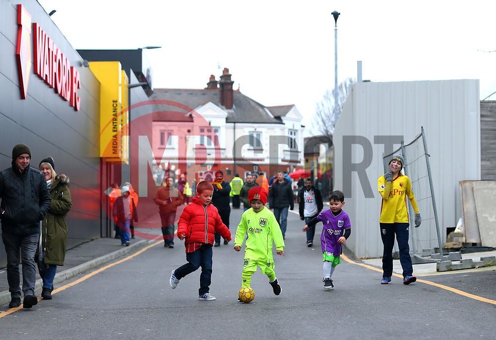 Young Watford and Bristol City fans have a kick about outside Vicarage Road ahead of the FA Cup Third Round tie between the two sides - Mandatory by-line: Robbie Stephenson/JMP - 06/01/2018 - FOOTBALL - Vicarage Road - Watford, England - Watford v Bristol City - Emirates FA Cup third round proper
