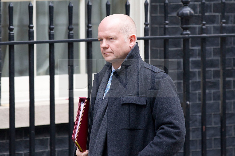 © Licensed to London News Pictures. 26/11/2013. London, UK. The Foreign Secretary, William Hague, leaves Number 10 Downing Street after a meeting of British Prime Minister David Cameron's Cabinet on Downing Street in London today (26/11/2013). Photo credit: Matt Cetti-Roberts/LNP