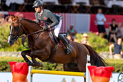 EPAILLARD Julien (FRA), Virtuose Champeix<br /> Berlin - Global Jumping Berlin 2018<br /> CSI5* Preis der Deutsche Vermögensberatung<br /> 1. Wertung für Global Champions League<br /> 27. Juli 2018<br /> © www.sportfotos-lafrentz.de/Stefan Lafrentz