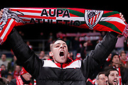 19th January 2018, Coliseo Alfonso Perez, Getafe Madrid, Spain; La Liga football, Matchday 20, Getafe versus Athletic Bilbao -- Athletic de Bilbao supporter cheers his team before the game starts