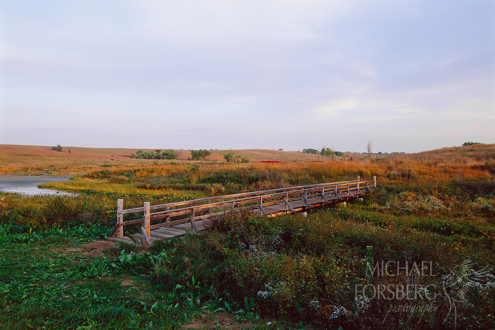 The walking bridge at Spring Creek Prairie in southeastern Nebraska leads visitors to the renewed prairie.