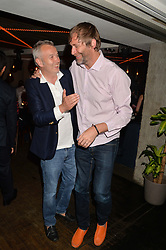 Left to right, PIERS ADAM and PAUL HARRIS of Dirty Vegas at the launch of Geisha at Ramusake hosted by Piers Adam and Marc Burton at Ramusake, 92B Old Brompton Road, London on 11th June 2015.