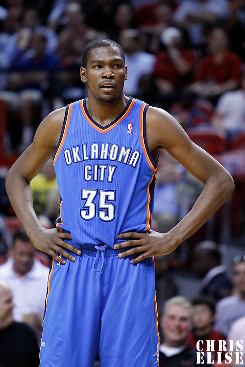 16 March 2011: Oklahoma City Thunder small forward Kevin Durant (35) rests during the Oklahoma City Thunder 96-85 victory over the Miami Heat at the AmericanAirlines Arena, Miami, Florida, USA.