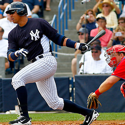 March 11, 2012; Tampa Bay, FL, USA; New York Yankees third baseman Alex Rodriguez (13) gounds out during the bottom of the first inning of a spring training game against the Philadelphia Phillies at George M. Steinbrenner Field. Mandatory Credit: Derick E. Hingle-US PRESSWIRE