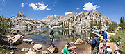 Lower Lamarck Lake in John Muir Wilderness, Inyo National Forest, Sierra Nevada, California, USA. In the Bishop Creek watershed, enjoy a scenic hike from North Lake to Lamarck Lakes. The moderate trail to Upper Lamarck Lake is 5.5 miles round trip with 1550 feet cumulative gain. This panorama was stitched from 8 overlapping photos.