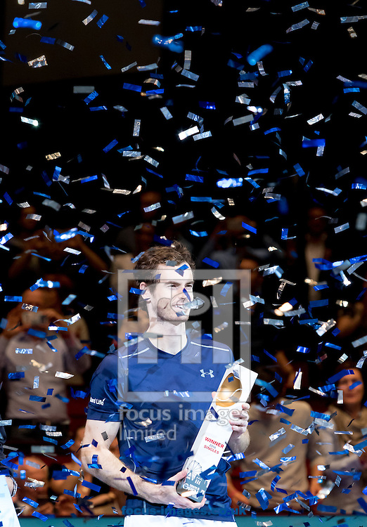 Andy Murray with the trophy during the final of the Erste Bank Open at Wiener Stadthalle, Vienna, Austria.<br /> Picture by EXPA Pictures/Focus Images Ltd 07814482222<br /> 30/10/2016<br /> *** UK &amp; IRELAND ONLY ***<br /> EXPA-PUC-161030-0445.jpg