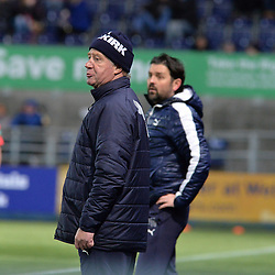 Falkirk Assistant Manager Jimmy Nicol with boss Paul Hartley during the championship match against Queen of the South. The Northern Irishman is widely expected to be named as the new Assistant Manager at Premiership club Rangers.<br /> <br /> (c) Dave Johnston | sportPix.org.uk