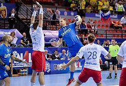 Ziga Mlakar of Celje PL during handball match between Meshkov Brest and RK Celje Pivovarna Lasko in bronze medal match of SEHA- Gazprom League Final 4, on April 15, 2018 in Skopje, Macedonia. Photo by  Sportida