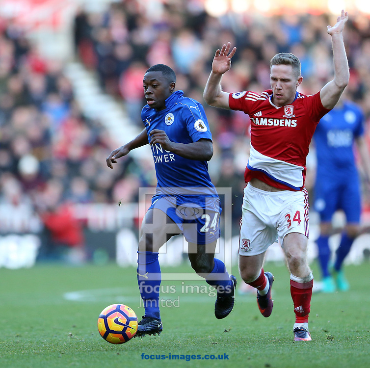 Adam Forshaw (r) of Middlesbrough and Nampalys Mendy of Leicester City during the Premier League match at the Riverside Stadium, Middlesbrough<br /> Picture by Simon Moore/Focus Images Ltd 07807 671782<br /> 02/01/2017