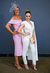 LIVERPOOL, ENGLAND - Thursday, April 6, 2017: Sarah Neill [L] and Chelsea Cook, 22, both from Leyland. House celeb boutique, during The Opening Day on Day One of the Aintree Grand National Festival 2017 at Aintree Racecourse. (Pic by David Rawcliffe/Propaganda)