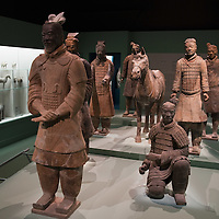 """MILAN, ITALY - JUNE 01:  Terracotta statues from Qin Dynasty found in the graves at Lintong, Xi'an at """"I due Imperi"""" exhibition on June 1, 2010 in Milan, Italy. The Exhibition illustrates the birth and development of the Roman Empire and the Empire of the Chinese Qin and Han Dinasties.  (Photo by Marco Secchi/Getty Images)"""