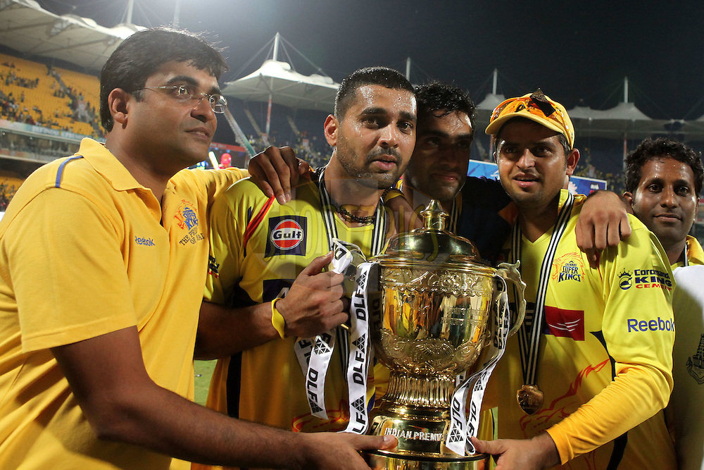 Gurunath Meiyappan owner of CSK, Murali Vijay and Suresh Raina celebrate with the trophy during the final of the Indian Premier League ( IPL ) Season 4 between the Chennai Superkings and the Royal Challengers Bangalore held at the MA Chidambaram Stadium in Chennai, Tamil Nadu, India on the 28th April 2011..Photo by Ron Gaunt/BCCI/SPORTZPICS