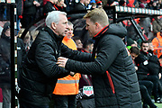 West Bromwich Albion manager Alan Pardew and AFC Bournemouth manager Eddie Howe shake hands before the Premier League match between Bournemouth and West Bromwich Albion at the Vitality Stadium, Bournemouth, England on 17 March 2018. Picture by Graham Hunt.