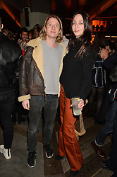 DOMINIC JONES and CELIA WEINSTOCK at a party to celebrate the opening of 100 Wardour Street, Soho, London on 28th January 2016.