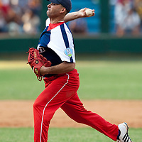 15 February 2009: Right pitcher Luis Miguel Rodriguez of the Orientales pitches during a training game of Cuba Baseball Team for the World Baseball Classic 2009. The national team is pitted against itself, divided in two teams called the Occidentales and the Orientales. The Orientales win 12-8, at the Latinoamericano stadium, in la Habana, Cuba.