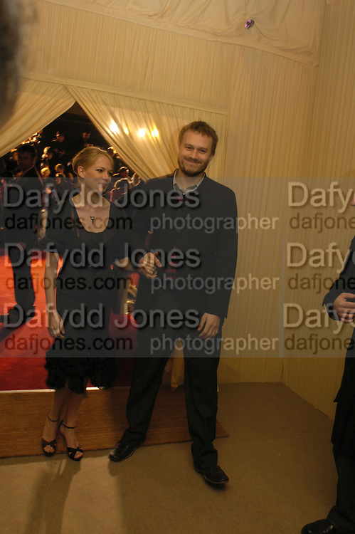 Heath Ledger and Michelle Williams. The London party on the Eve of the Baftas hosted by United Pictures and Variety to benefit Lepra. Sponsored by Steinmetz, Chatila jewellers, and E Entertainment. Spencer House. St. james's Place. London. 18 February 2006. ONE TIME USE ONLY - DO NOT ARCHIVE  © Copyright Photograph by Dafydd Jones 66 Stockwell Park Rd. London SW9 0DA Tel 020 7733 0108 www.dafjones.com